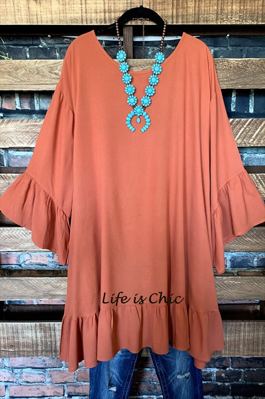 BELONG WITH ME DRESS OVERSIZED COMFY CASUAL BURNT ORANGE L- 4X------sale