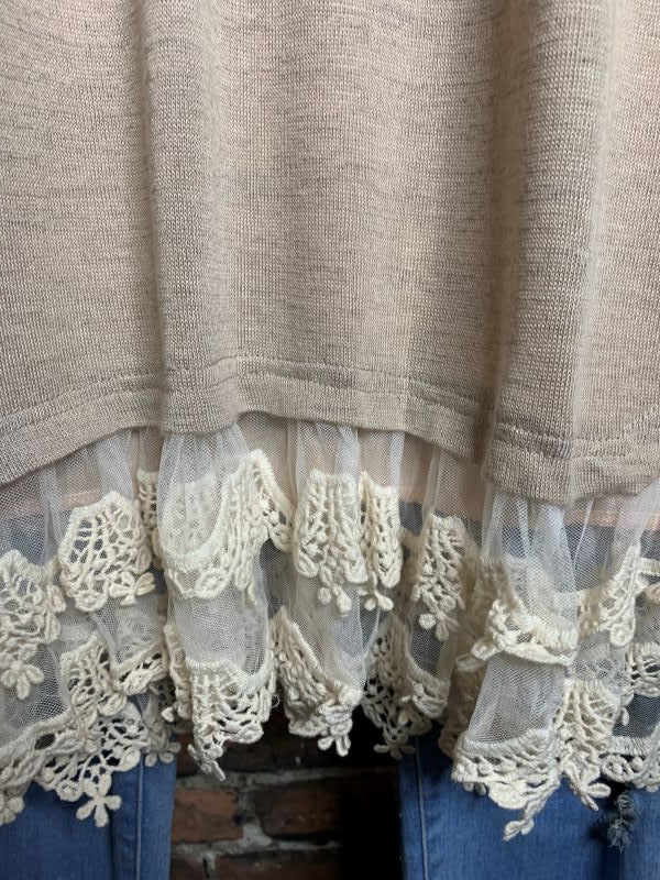 ALWAYS MY SWEETEST LOVE LACE EMBELLISHED TUNIC IN TAUPE