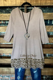 WHEREVER YOU GO LACE PRETTY T-SHIRT TUNIC V NECK IN TAUPE 6-12