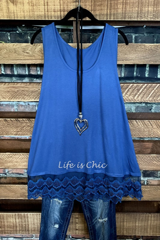 SWEETER THAN HONEY LACE SLIP DRESS EXTENDER TOP IN ROYAL BLUE