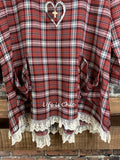 MY BEST WISH LACE PLAID TUNIC OVERSIZED IN BURGUNDY MIX