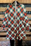 ON MY WAY TO YOU PLAID LONG SLEEVE SWEATER DRESS IN GREEN & RED MIX-----sale