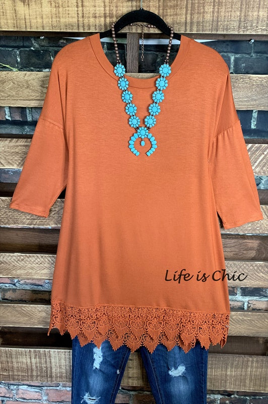 WHEREVER YOU GO LACE PRETTY T-SHIRT TUNIC - RUST