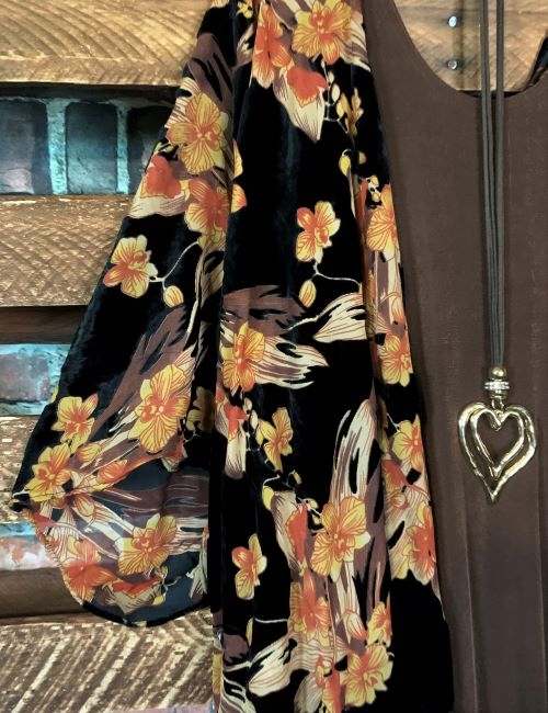 Near To My Heart Fab Fringe Burnout Velvet Floral Kimono Multi-Color