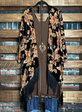 MAYBE IT WAS MAGIC FABULOUS GYPSY FRINGE FLORAL VELVET KIMONO