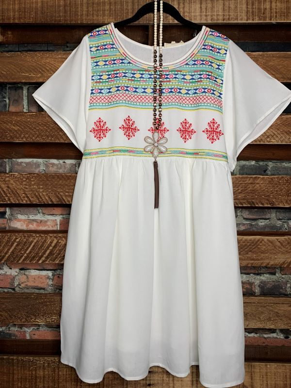 Perfect Time For Love embroidered dress in off-white