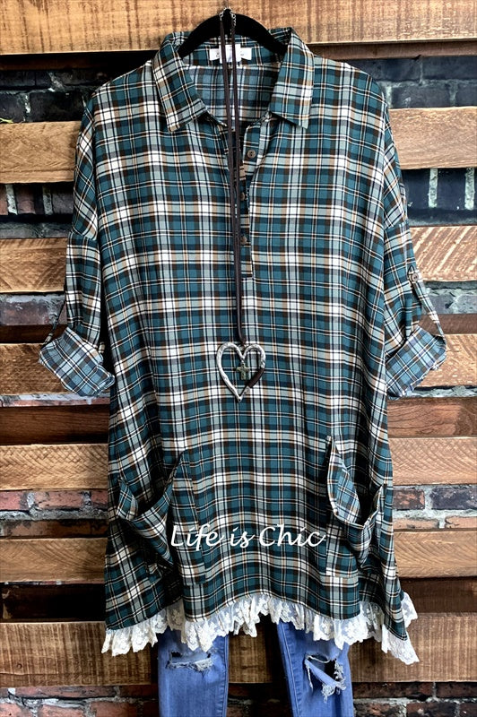 MY BEST WISH LACE PLAID TUNIC OVERSIZED IN GREEN MIX