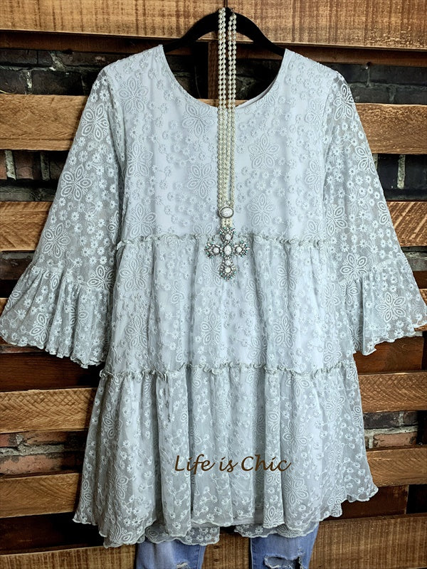 DOLCE VITA EMBROIDERED LACE DRESS IN DUSTY GRAY----------sale