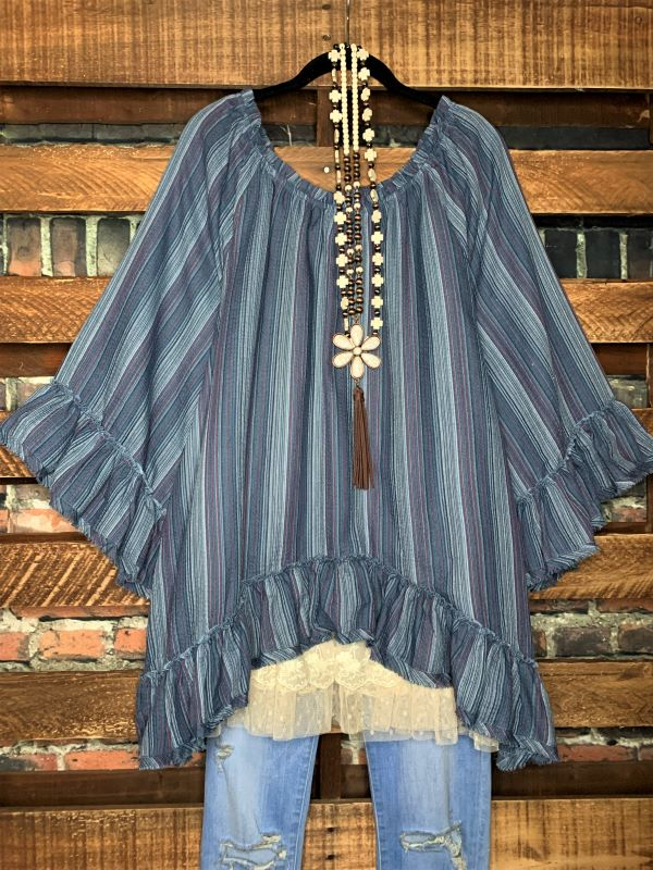 Bohemian Hippie Soul Oversized Tunic in navy blue & Mix