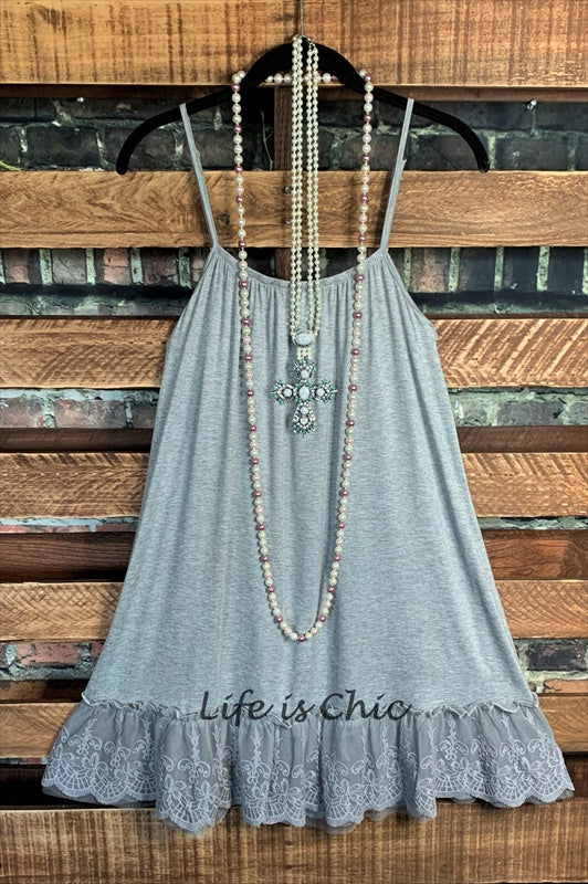 SO THIS IS LOVE LACE SLIP DRESS EXTENDER IN GRAY