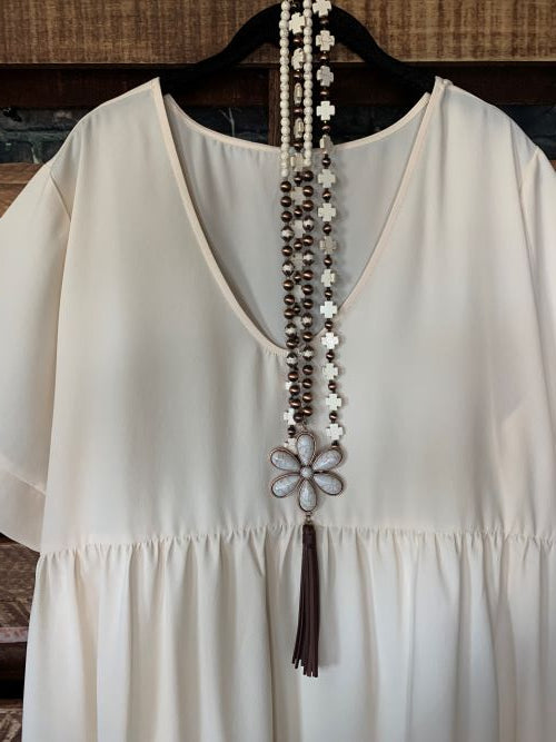 Easy To Love  Comfy Casual Tunic in Beige