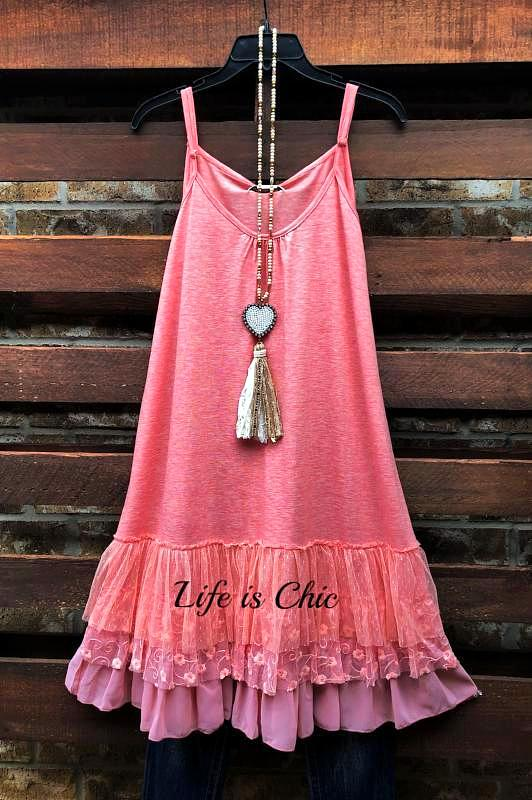 I'M ETERNALLY YOURS LACE SLIP DRESS EXTENDER TOP IN PEACH