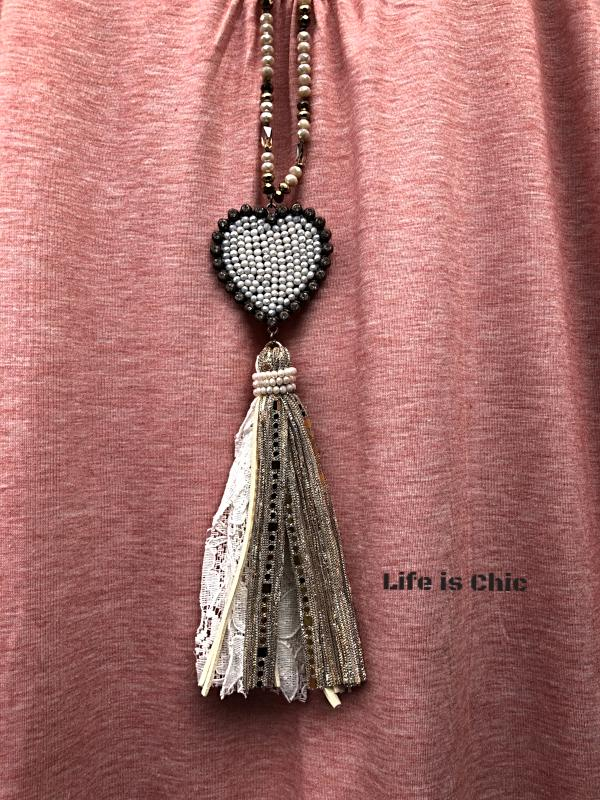 LOVE IN YOUR HEART WHITE CRYSTAL BEADED NECKLACE