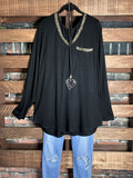 MY FANCY T-SHIRT TUNIC IN BLACK