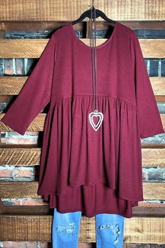 JUST THE SIMPLE THINGS CASUAL COMFY BABYDOLL TOP IN WINE