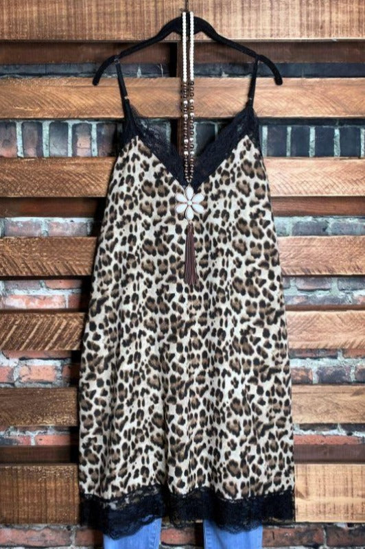 JUST WILD ABOUT YOU LEOPARD TOP LACE SLIP DRESS IN MULTI-COLOR