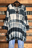 BE INSPIRED TIE DYE TEE TOP TUNIC IN NAVY BLUE 1X 2X 3X