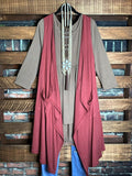 DAYS GONE BY  BOHO LACE VEST IN MARSALA