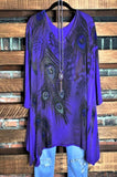 PEACOCK FEATHERS CRYSTAL MULTI-COLOR TUNIC IN PURPLE