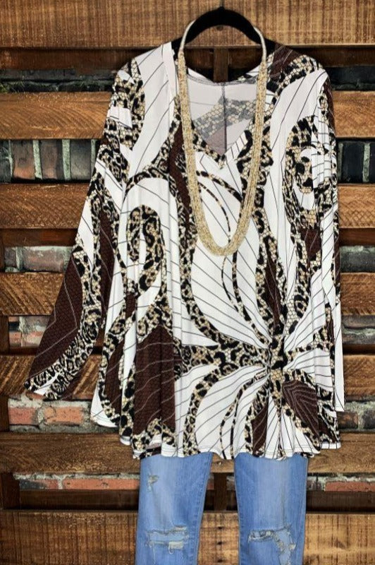 AS CHARMING IS EVER ANIMAL PRINT TOP IN BROWN & OFF WHITE----------sale