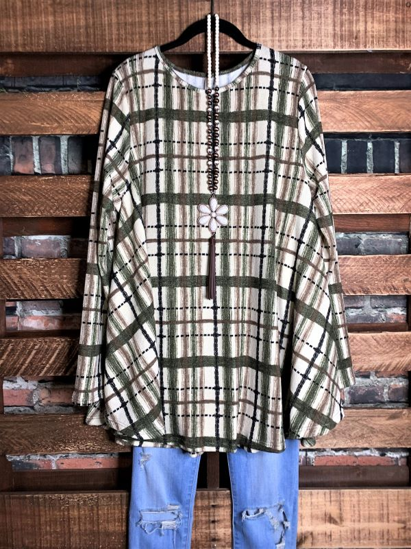 For Your Heart Only Plaid Sweater Tunic in Cream & Olive