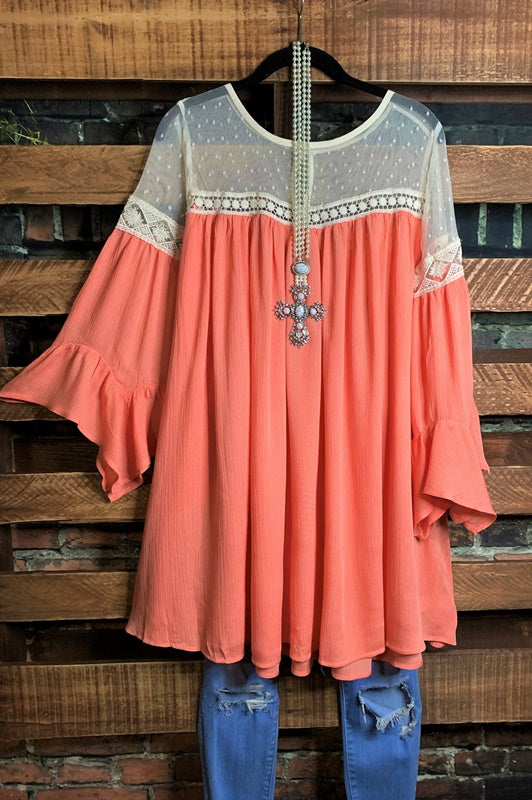 ENCHANTED HEART DRESS LACE IN PEACH