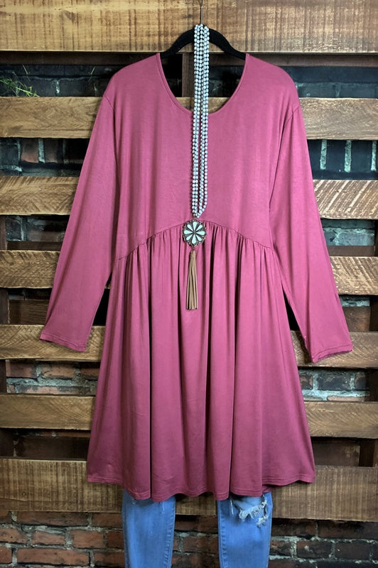 TOUCH OF SWEET LONG SLEEVE EMPIRE WAIST DRESS IN BLUSH--------sale