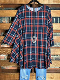 Power Of Love Plaid Tunic in Navy Blue