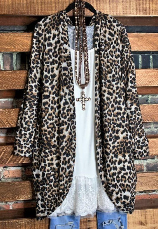 On My Way To You Animal Print Cardigan Black & Brown