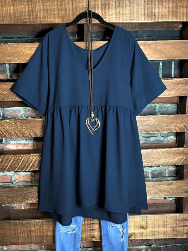 Easy To Love  Comfy Casual Tunic in Dark Navy Blue