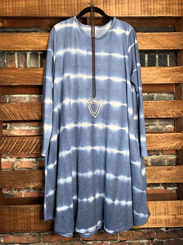 INDIGO MOON TIE DYE DRESS IN BLUE 1X 2X 3X