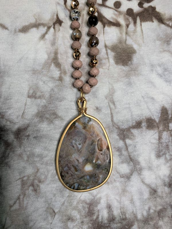 MOONSTONE AGATE BROWN PENDANT NATURAL GEMSTONE NECKLACE