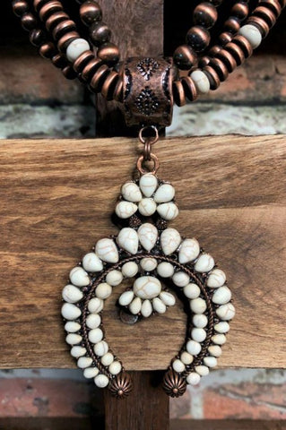WHITE MOON GYPSY CROSS NECKLACE IN IVORY & MOCHA