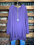 ALWAYS AND FOREVER LONG SLEEVE T-TUNIC IN ASH LILAC