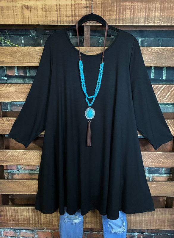 LOVE THIS FEELING CASUAL T-DRESS IN BLACK 3X 4X 5X