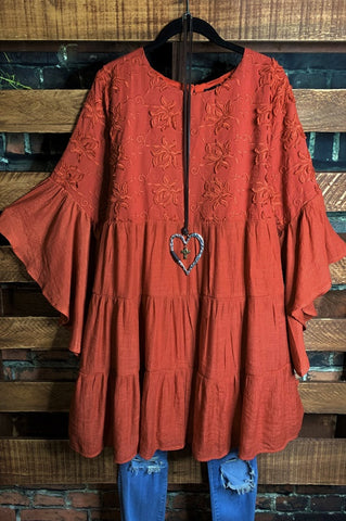 MY FANCY T-SHIRT TUNIC FRINGE LACE IN CORAL