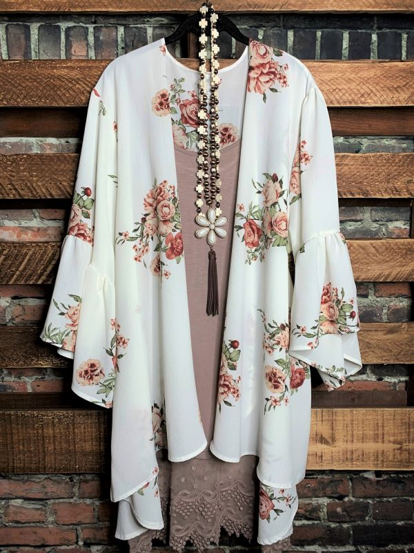 Blooming Love Floral Oversized Kimono Off White