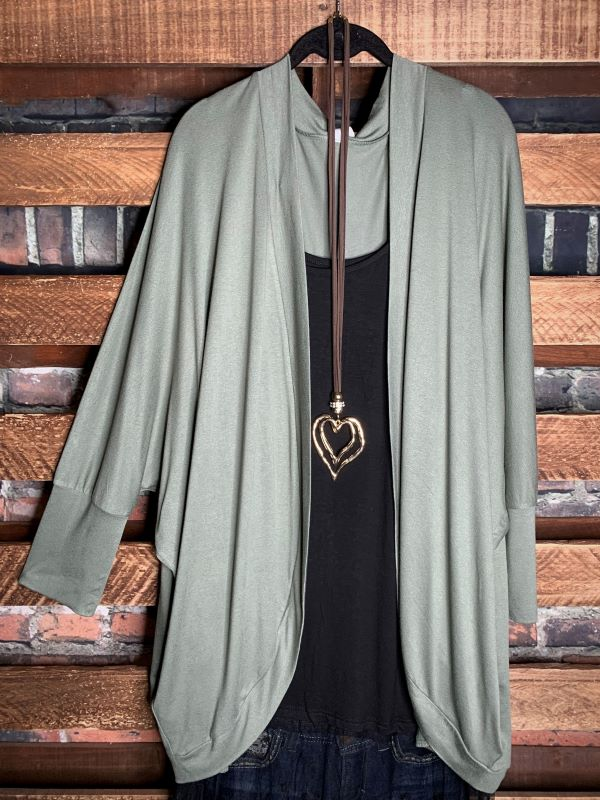 THE EVERYDAY CASUAL CARDIGAN IN LT OLIVE-----------sale