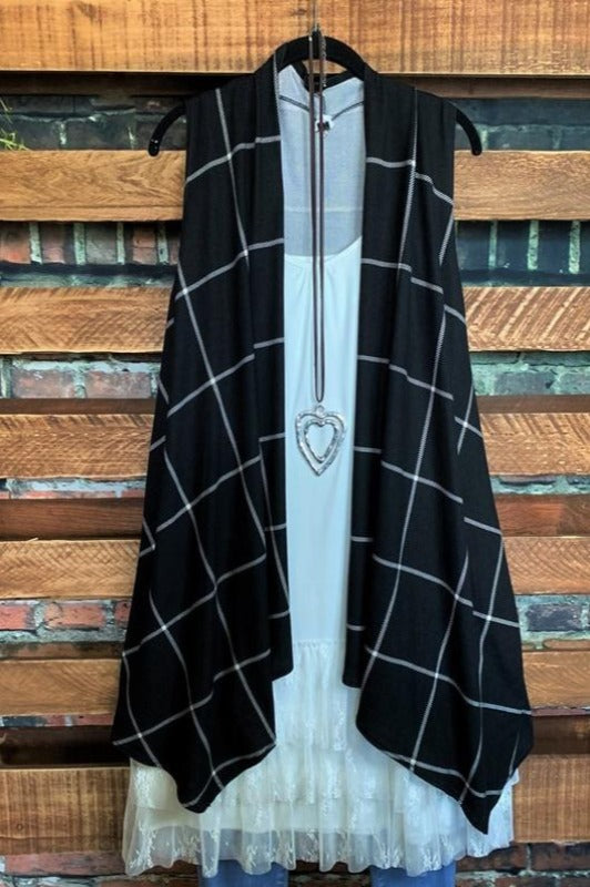 A PERFECT WISH PLAID SOFT VEST IN BLACK