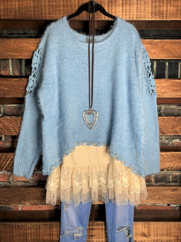PERFECT FROM THE HEART SWEATER CROCHET EMBELLISHED SWEATER IN BLUE