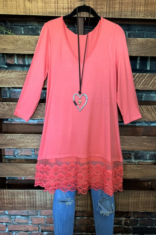 WHEREVER YOU GO LACE PRETTY T-SHIRT TUNIC V NECK IN CORAL