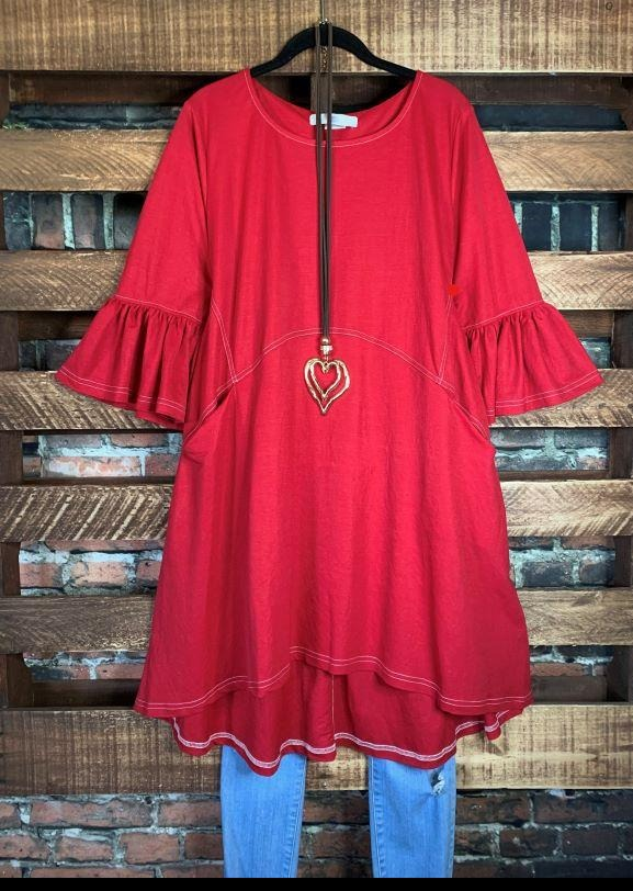 GENUINE SOUL PEASANT OVERSIZED DRESS POCKET IN RED