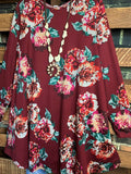 BEAUTY OF THE SEASON FLORAL LONG SLEEVE  DRESS IN WINE MIX