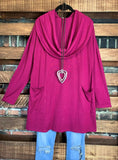 PURE PASSION SWEATER TUNIC PATCHED POCKETS IN MAGENTA----------------sale