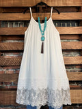 FOREVER MINE PRETTY LACE LAYERING DRESS EXTENDER SLIP TOP IN WHITE