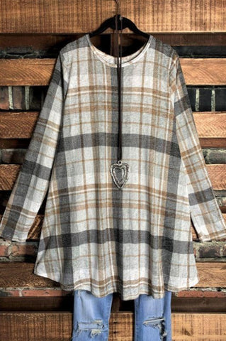 PLAID SWEATER TUNIC IN BLACK 3X 4X 5X