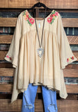 FOREVER ROMANCE PRETTY FLORAL EMBROIDERED TUNIC IN BEIGE