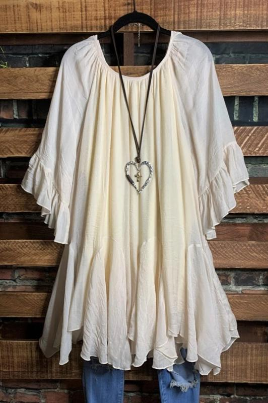 BOHO-HIPPIE GYPSY SWING OVERSIZED DRESS IN BEIGE