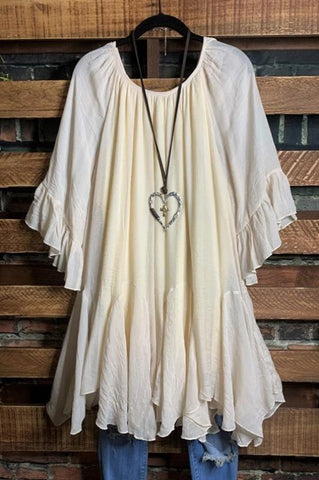 WHEREVER YOU GO LACE TEE-SHIRT TUNIC IN OAT