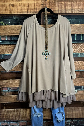 EVERYDAY NATURAL LINEN OVERSIZED TUNIC KHAKI